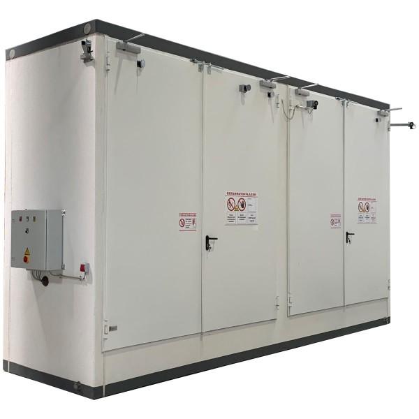 Brandschutz-Regallager für 8 IBC oder 12 EUR-Paletten zur Aufstellung im Gebäude
