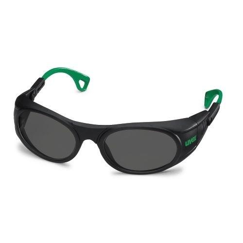 uvex Schweißerschutzbrille 9116043 schwarz / grün, PC grau, Schutzstufe 3, anpassbare Bügelenden