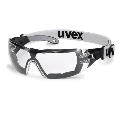 uvex Schutzbrille 9192180 pheos guard mit Kopfband, schwarz/grau, PC farblos