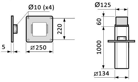 Fumex Deckenkonsole MTF 1000-125, teleskopierbar, für Absaugarm ME Ø 100 mm