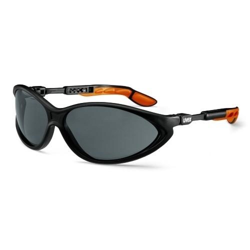 uvex Schutzbrille 9188076 cybric, schwarz/orange, PC grau, kratzfest, chemikalienbeständig