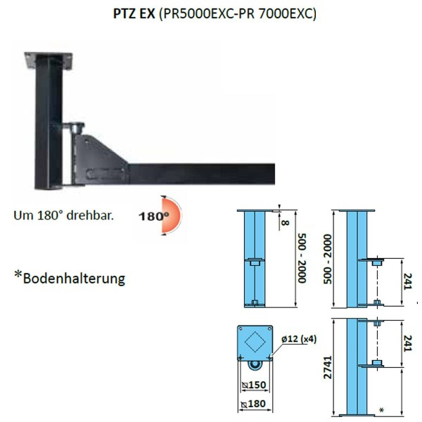 Decken- Bodenhalterung für Absaugarm PR 1500 - 3000 Fumex