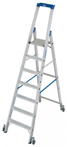 Krause STABILO Stufen-StehLeiter mit Multifunktionsschale, fahrbar