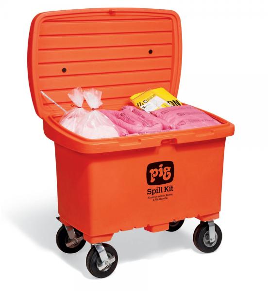 Notfallkit in auffälliger Transportkarre mit No-Flat-Reifen, Chemikalien KIT380