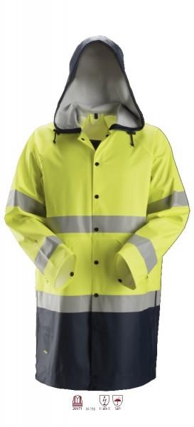 Snickers Workwear 8261 ProtecWork Regenjacke PU, signalgelb/navy, Warnschutz Klasse 3