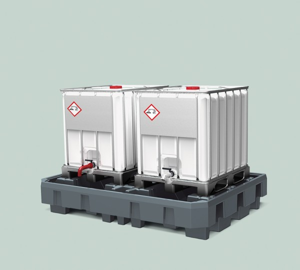IBC Station PE grau mit Abfüllbereich, Einfahrtaschen, 2460 x 1800 x 460 mm, für 2 IBC