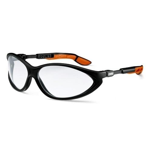 uvex Schutzbrille 9188075 cybric, schwarz/orange, PC farblos, kratzfest, chemikalienbeständig