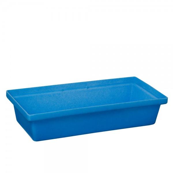 Kleingebindewanne KW-K30 aus Kunststoff (PE), ohne Roste, Auffangvolumen 30 Liter, blau
