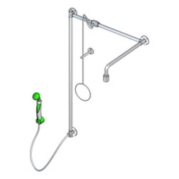 B-Safety PremiumLine Körper-Notdusche mit Hand-Augendusche BR 873 095, Über-Tür-Montage
