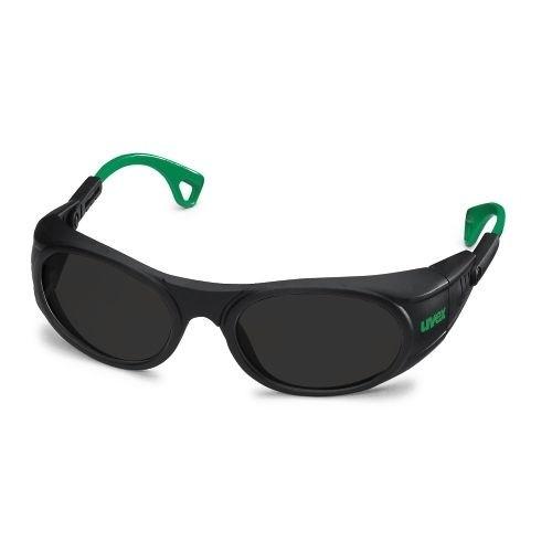 uvex Schweißerschutzbrille 9116045 schwarz / grün, PC grau, Schutzstufe 5, anpassbare Bügelenden