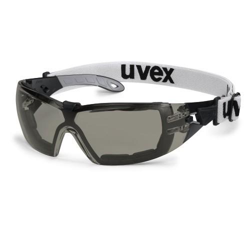 uvex Schutzbrille 9192681 pheos s guard mit Zusatzrahmen und Kopfband, PC grau