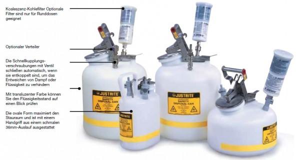 Justrite HPLC Sicherheits-Entsorgungsbehälter, PE, 4 Liter, oval, weiß