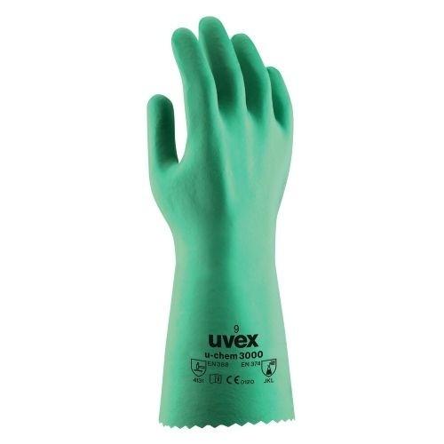 uvex Chemikalienschutzhandschuhe u-chem 3000 grün, vollbeschichtet mit NBR, Hitzebeständig