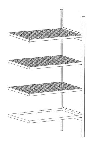 Bauer Anbauregal Typ S 3018-4E verzinkt mit 3 Gitterrostböden, 1 Auffangwanne, für Kleingebinden