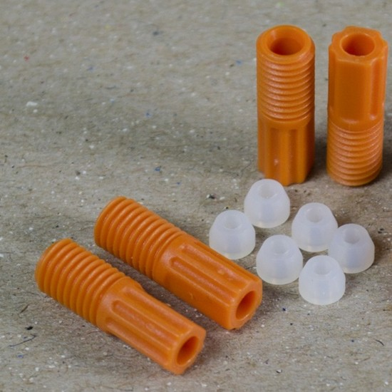Justrite ETFE-Rohrverschraubungen 2,5 mm, orange, mit 6 Aderendhülsen, 6-er Pack