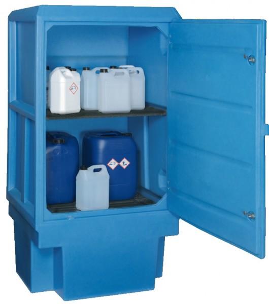 ADESATOS PE-Gefahrstoffschrank SL-7 mit Fachboden und 225 Liter Auffangwanne für korrosive Stoffe mit Schloss