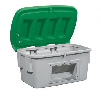 Streugutbehälter aus PE mit Entnahmeöffnung, 700 L, Deckel grün