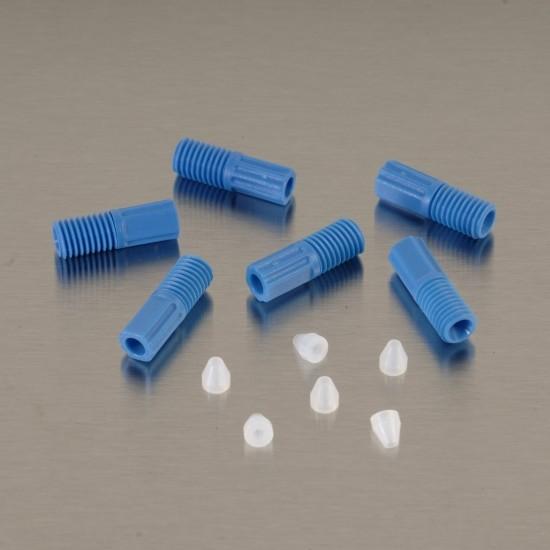 Justrite ETFE-Rohrverschraubungen 1,6 mm, blau, mit 6 Aderendhülsen, 6-er Pack