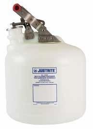 Justrite Selbstschließende Behälter, PE, rund, 9,5 Liter, weiß