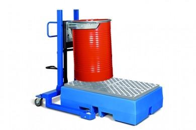 Fasslifter mit Klammer und Fußpumpe, Fahrwerk schmal, für 200 L Stahlfässer