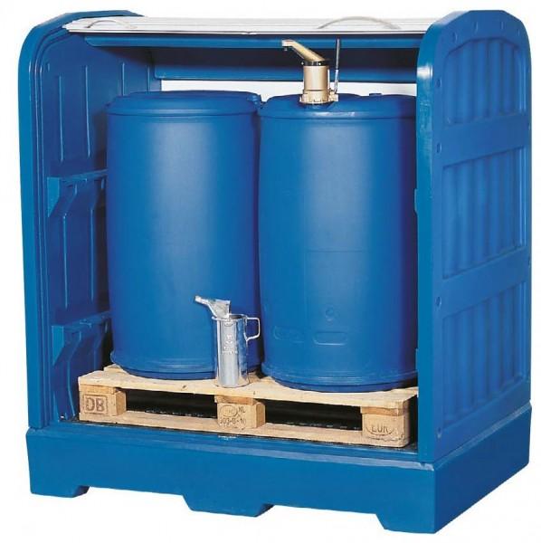 Gefahrstoffdepot, PE, Rolljalousie, Gitterrost PE, unterfahrbar, für 2x 200-L-Fass